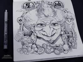 Ghibli Doodle Art - Yubaba Doodle 2 by sorali04