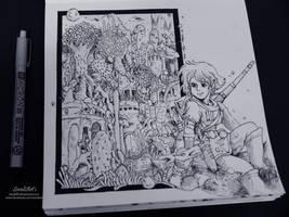 Ghibli Doodle Art - Nausicaa Doodle 8 by sorali04