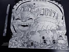 Ghibli Doodle Art - Cat Bus Doodle 18 by sorali04