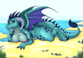 Beached dragoness (Colored) by Exelzior-Maximus
