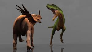 Styracosaurus vs Appalachiosaurus by arcupion