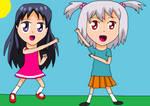 Sora and Akane doing kamen rider poses by StarmyuFanYuta98