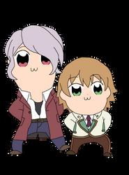 Hoshitani and Otori in Pop team epic style by StarmyuFanYuta98