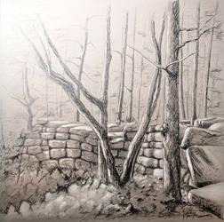 Mur paien -- Pagan wall by KarolineJuzanx