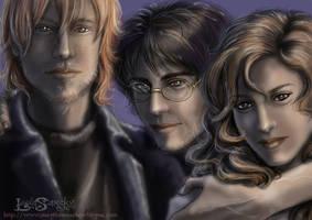 Deathly Hallows Trio by leelastarsky