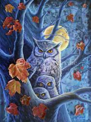 Harvest Moon Owls. by leelastarsky