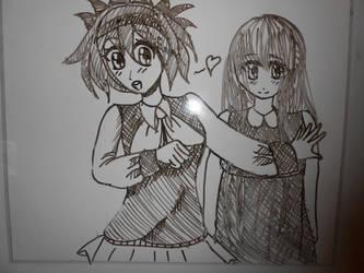 Alix and Annabelle (Sketch on whiteboard) by Nekokorochii