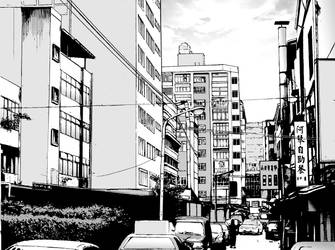 Asia City Manga Background Stock by WandaRocket