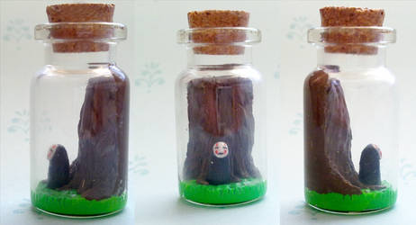 Polymer Clay : Spirited away No-face in a bottle by CraftCandies