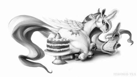Princess Celestia Horse with Cake by Hiroshi-Tea
