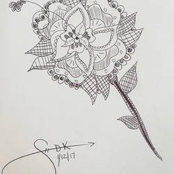 Simple Zentangle Flower Doodle by Sarah-The-Lion-Wolf