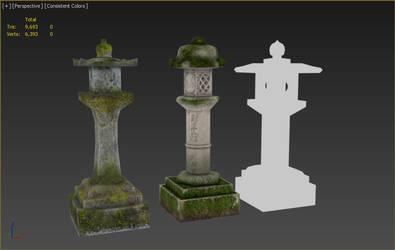 3D stone lanterns by diamond3