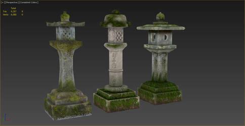 3D stone lanterns finished by diamond3