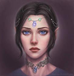 Elf girl portrait by marurenai