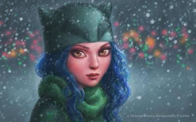 DeviantArt Girl in winter by marurenai