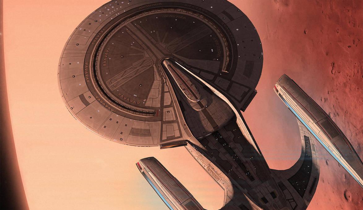 USS-Typhoon in Mars orbit by fastleppard