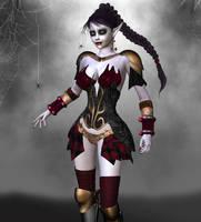 Vampire Elf in Battle Gear by parrotdolphin
