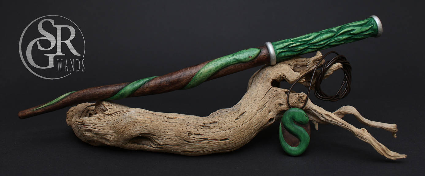 slytherin wand snake n flames by srg wands on deviantart