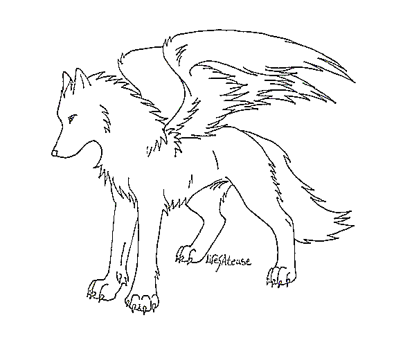 Winged Wolf Lineart By Ms Paint Friendly On Deviantart