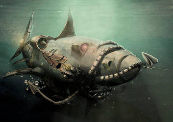 SharkMachine eats mechanical squid by Silych