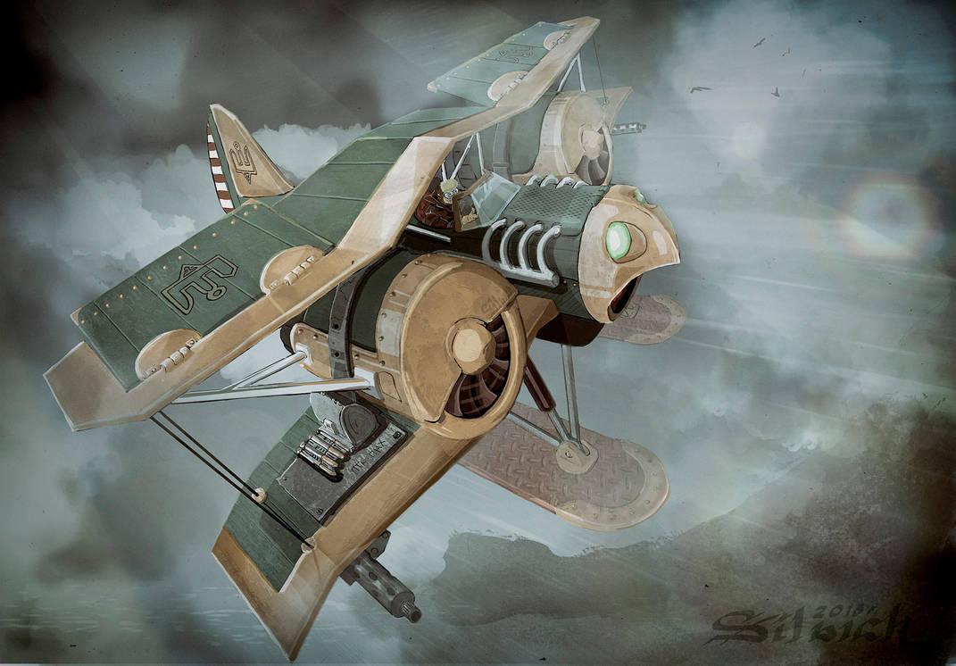 Steampunk biplane by Silych