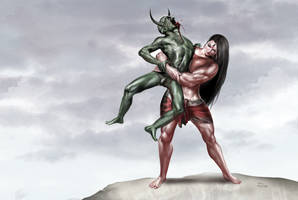 Slaying of Bhandasura by bodyscissorfan