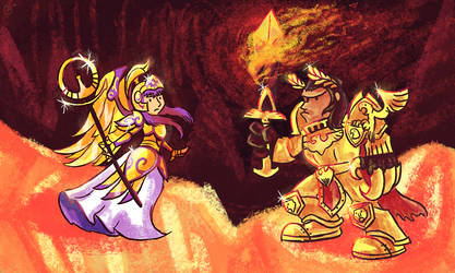Athena vs the God Emperor by Ether101