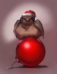 Grumpy Christmas bird by juliedillon