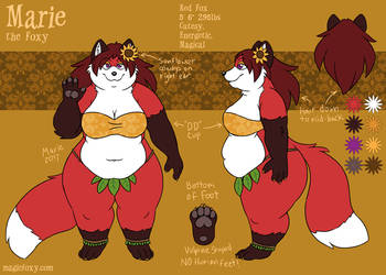 Marie the Foxy reference sheet - clothed version by PudgeyRedFox