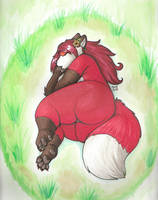 Sleepy Vixen by PudgeyRedFox