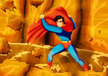 Superman breaking rocks by jotakaanimation