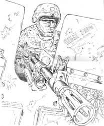 M-240B Gunner in Iraq by BROKENHILL