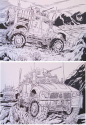 2 M-ATV Drawings Military trucks in combat by BROKENHILL