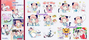 Cat ear girl Necoco part 3 of LINE sticker! by solalis1226
