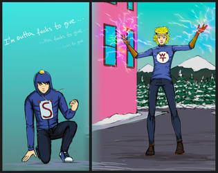 SuperCraig and WonderTweek fight by LoonyFred