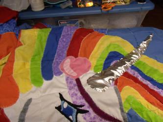 Rainbow Unicorn Quilt Update 09-22-2012-Horn 1 by Keyoko