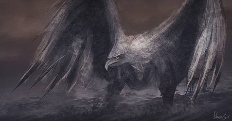 Stone Bird - speedpainting by thenSir