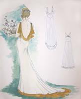Wedding gown fashion sketch by janey-jane