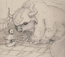 Young Aang and Appa sketch by janey-jane