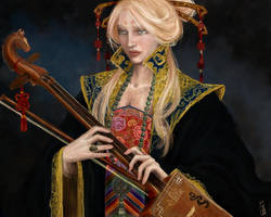 Woman with a morin khuur by janey-jane