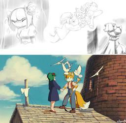 Cosmo and Tails:TENKU NO SHIRO RAPYUTA by Cheroy