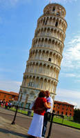 Kissing Behind Tower Pisa by FredrickNick