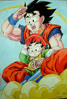 Goku and Little Gohan by Princessnikoru