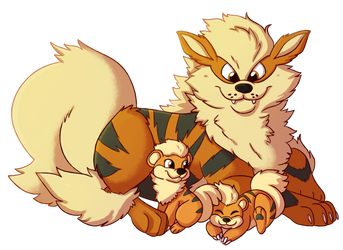 Arcanine and Pups by Pumpkin-Paw