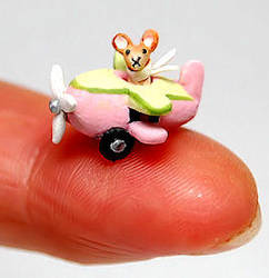 TINY mouse in his aeroplane by WEE-OOAK-MINIATURES