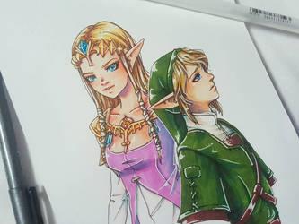 Gift art: Zelda + Link by Speckled-Egg