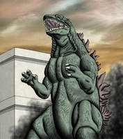 Godzilla - towering by chris-illustrator