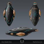 Droc Stealth Ship by chris-illustrator