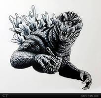 GMK Godzilla Sketch by chris-illustrator