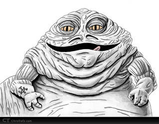 Jabba The Hutt Sketch by chris-illustrator
